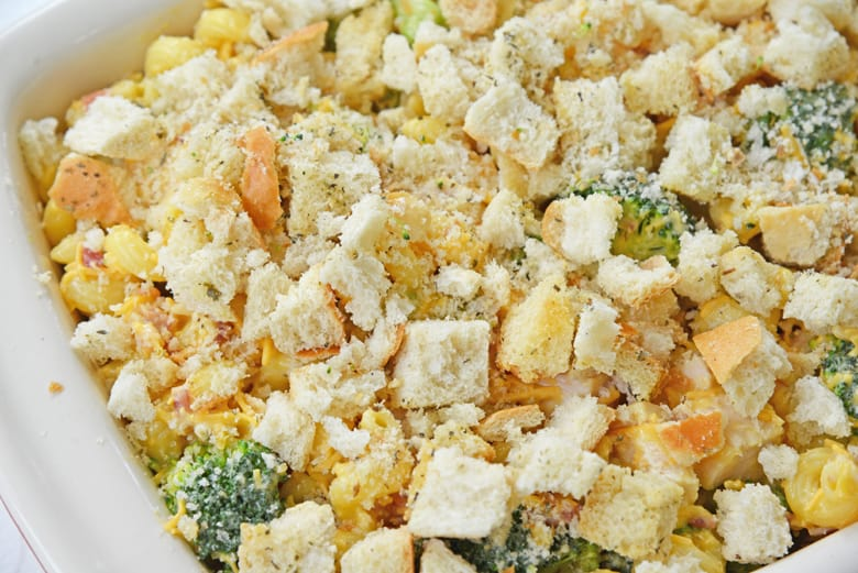 using croutons for topping instead of bread crumbs