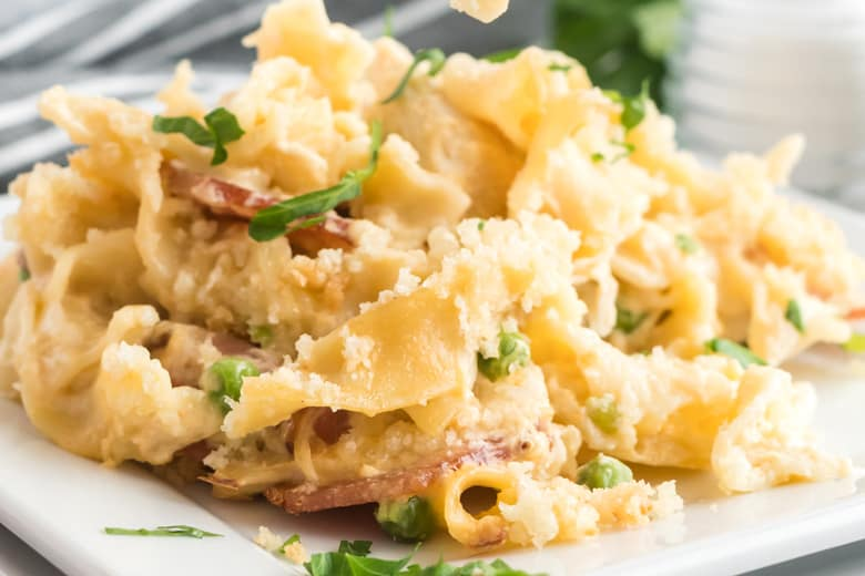 close up of chicken noodle casserole on a plate
