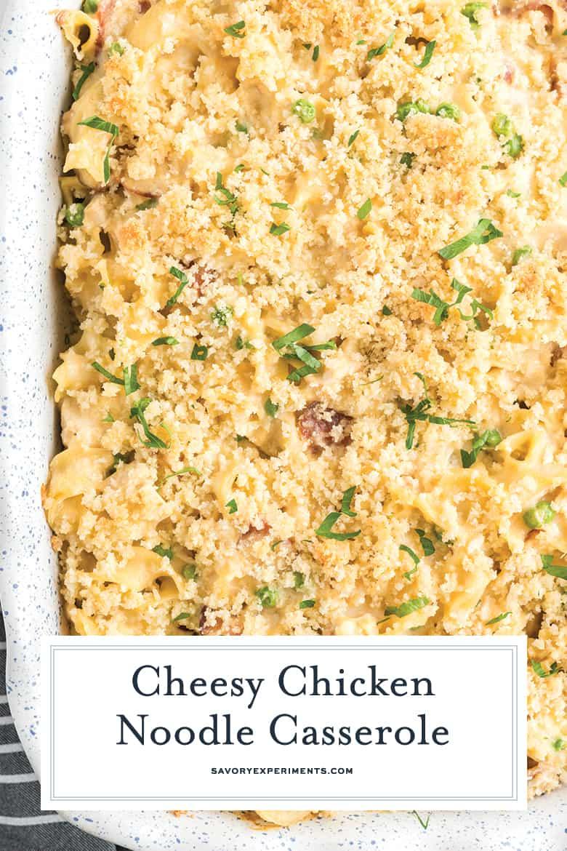 chicken noodle casserole close up for pinterest