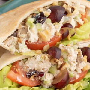 A close up of a chicken salad pitas