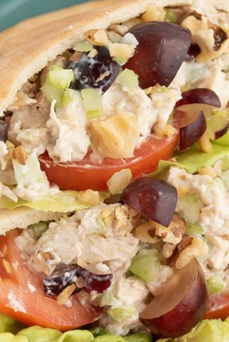 A close up of chicken salad pitas