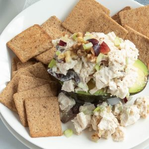 overhead of low carb chicken salad with grapes