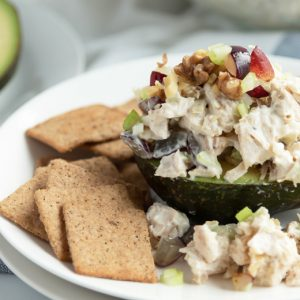 close up of low carb chicken salad with grapes and walnuts