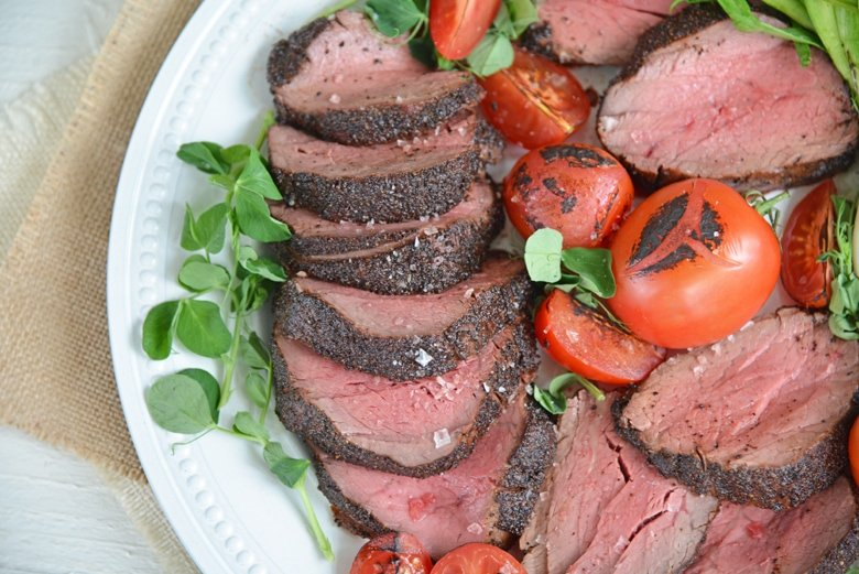 served and sliced crusted tenderloin