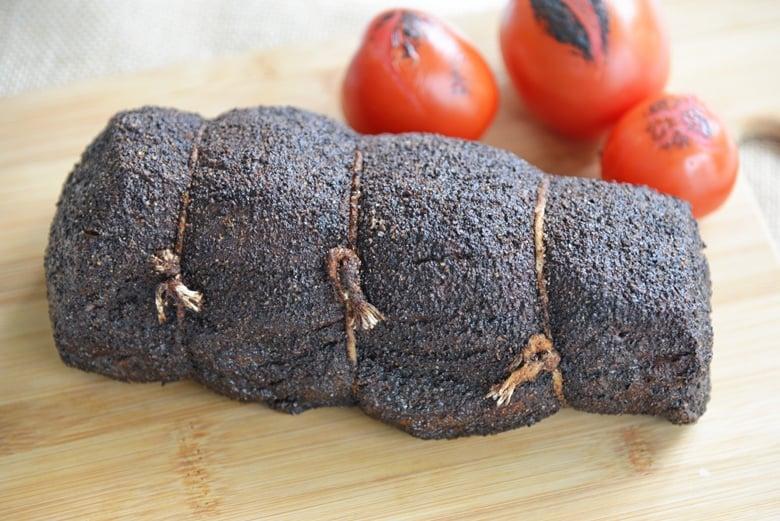 close up of bark on a roast