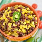 orange bowl of corn and bean salad