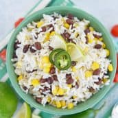 A bowl of fiesta rice with beans and corn