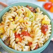 A bowl filled with pasta salad