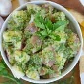 bowl of herbed potato salad