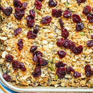 A baking dish with homemade granola