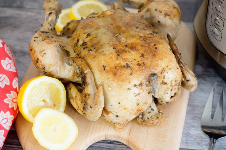 Instant Pot Whole Chicken is so EASY! With a simple cooked chicken, you can make yourself a main dish or cooked chicken for multiple other recipes! #instantpotwholechicken #pressurecookerwholechicken #instantpotchicken www.savoryexperiments.com