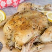 close up whole instant pot chicken