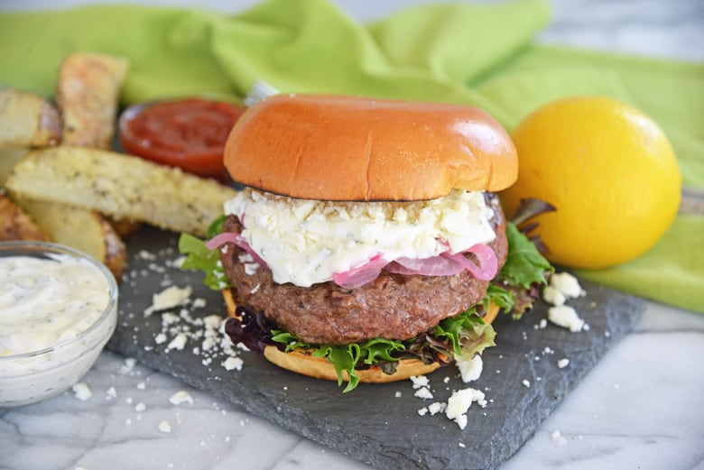 juicy lamb burger with toppings