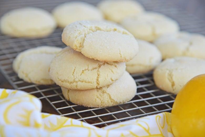 side view of lemon sugar cookies stacked