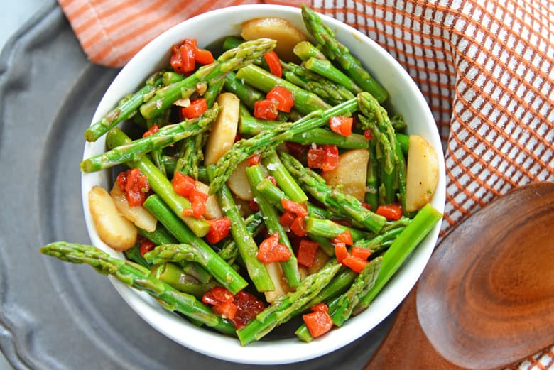 pickled asparagus salad in a bowl