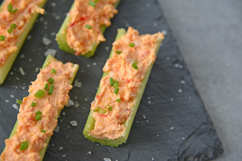 angle view of pimento cheese celery