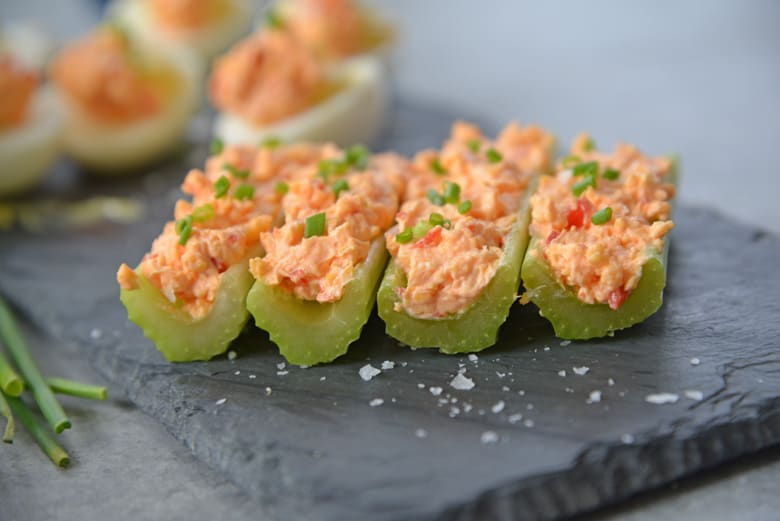 side view of celery with pimento cheese