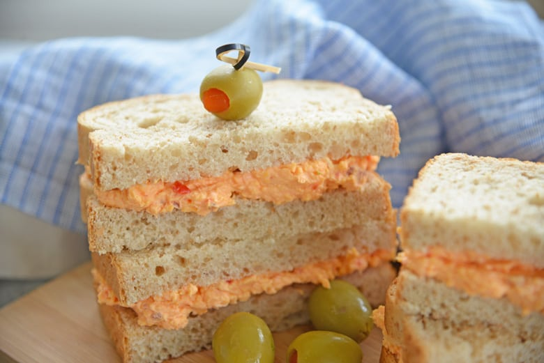 close up of pimento sandwiches