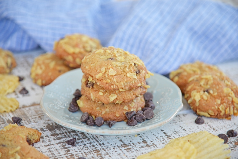 three potato chip chocolate chip cookies on a serving plate
