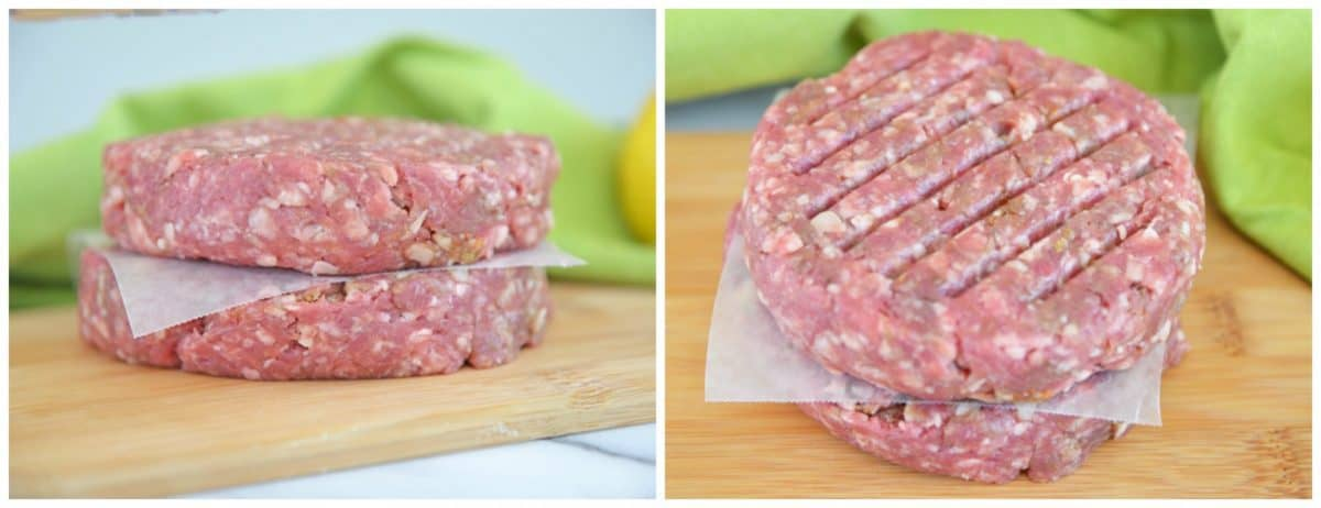 two raw Greek lamb burgers