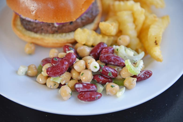 red bean salad as a side with a hamburger
