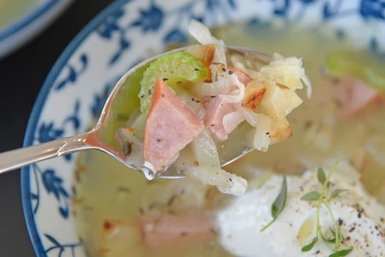 spoon of pork, celery and sauerkraut