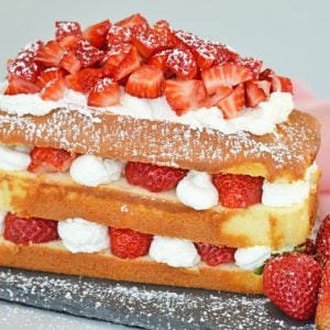 no bake strawberry cake using pound cake