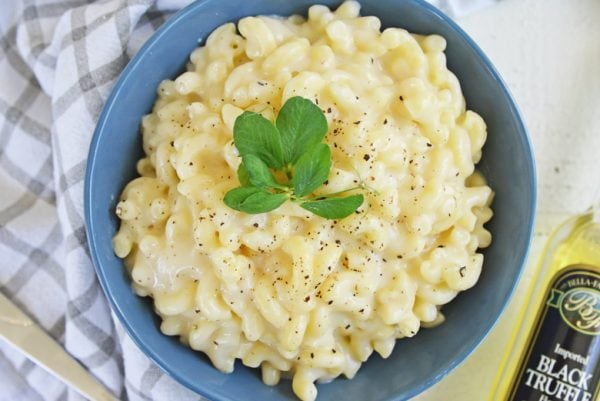A bowl of truffle mac and cheese