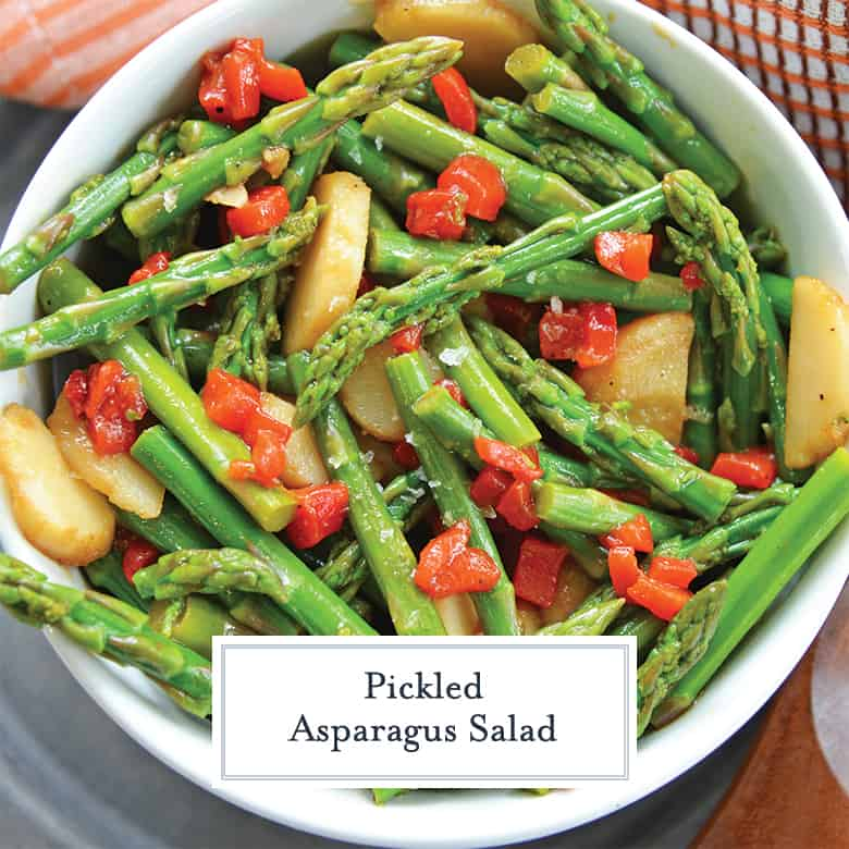 pickled asparagus salad in a serving bowl