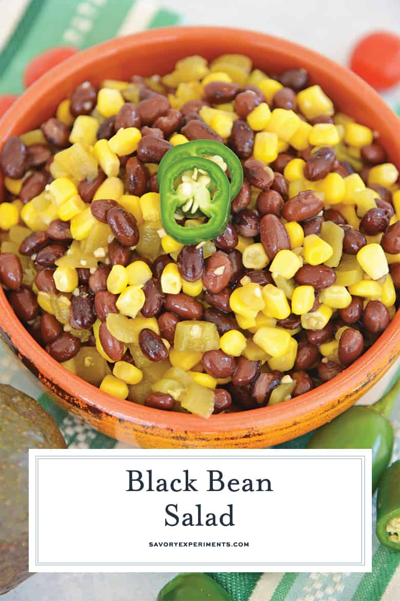 close up of black bean salad for pinterest