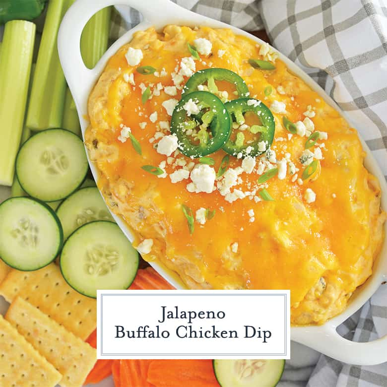 jalapeno slices on top of buffalo chicken dip with blue cheese crumbles
