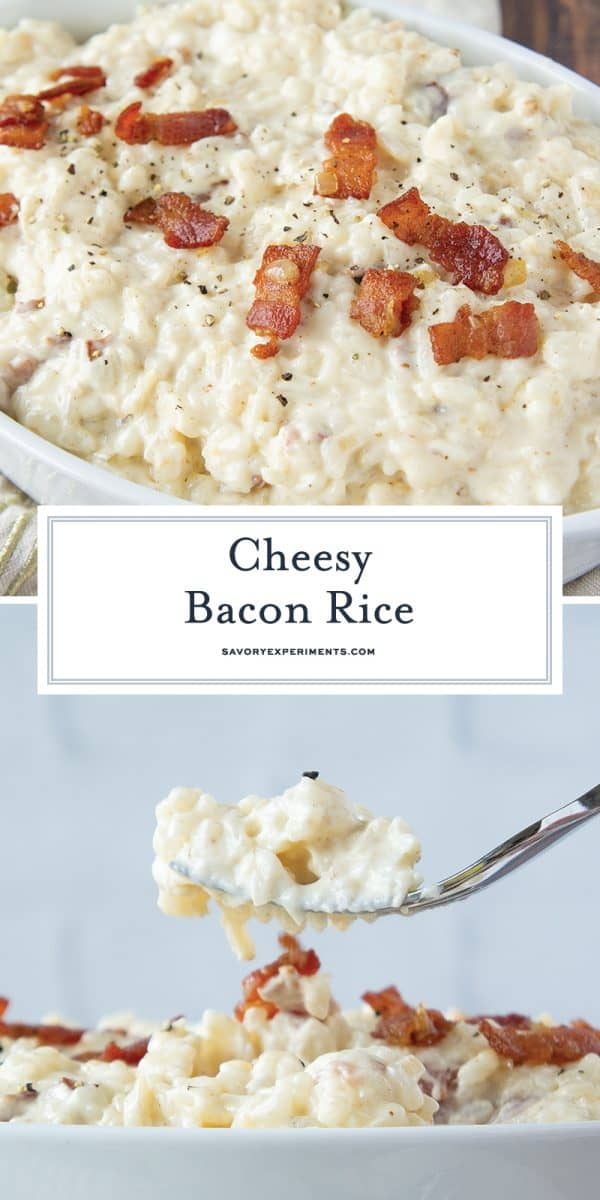 cheesy bacon rice for pinterest