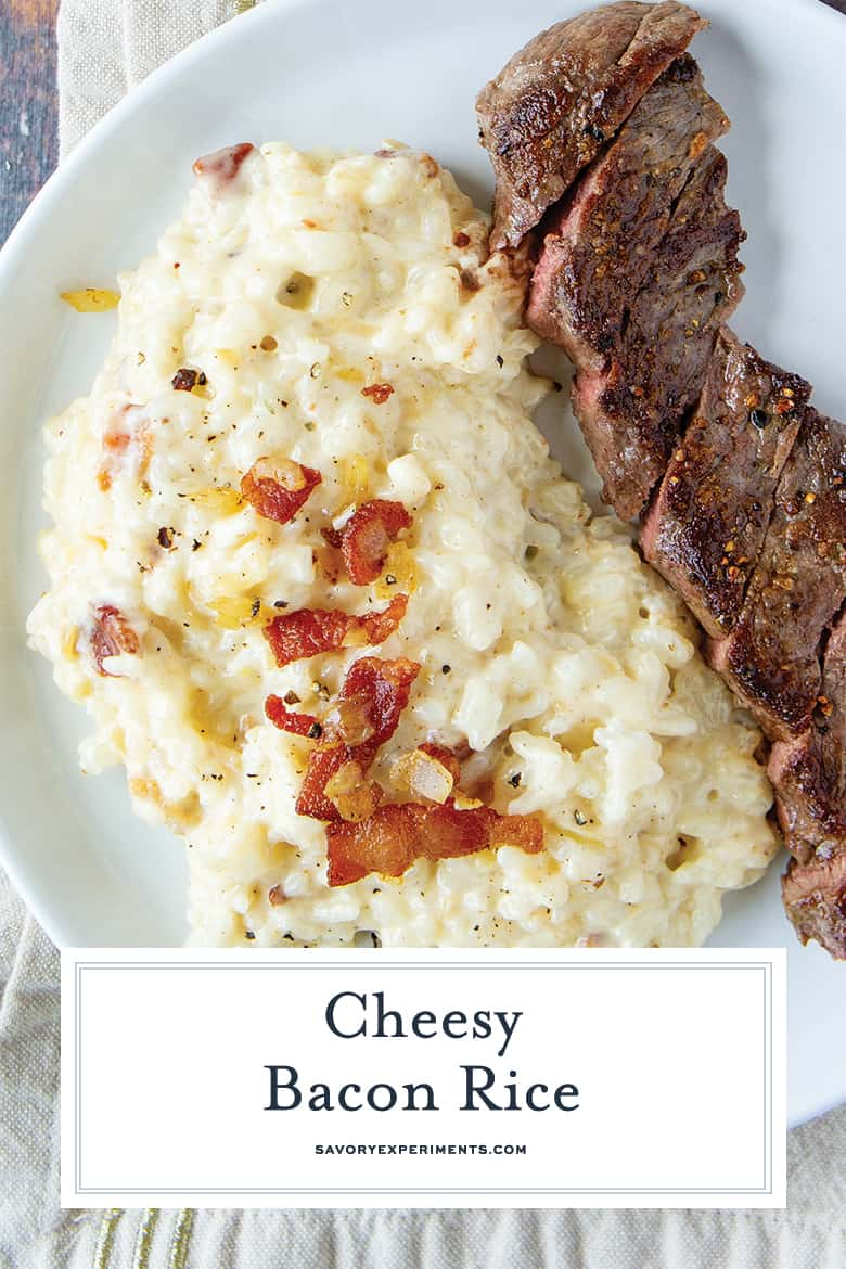 cheesy bacon rice with steak for pinterest