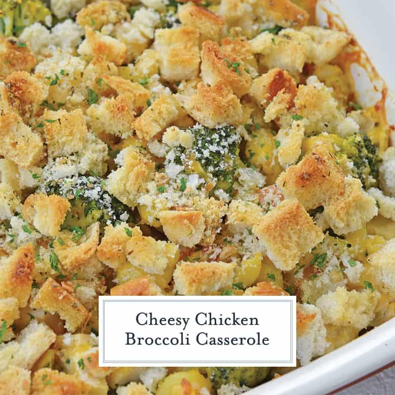 Close up of cheesy chicken broccoli casserole recipe