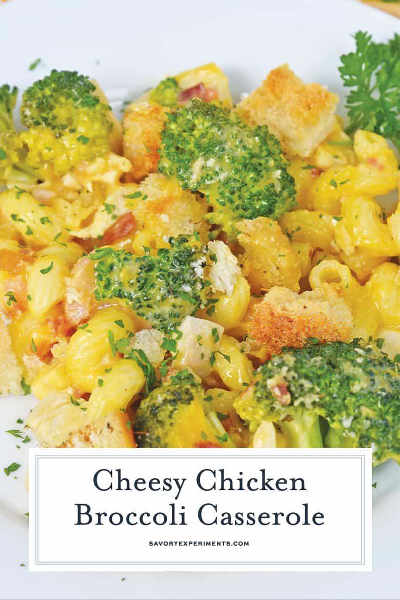 close up of broccoli and chicken casserole for pinterest
