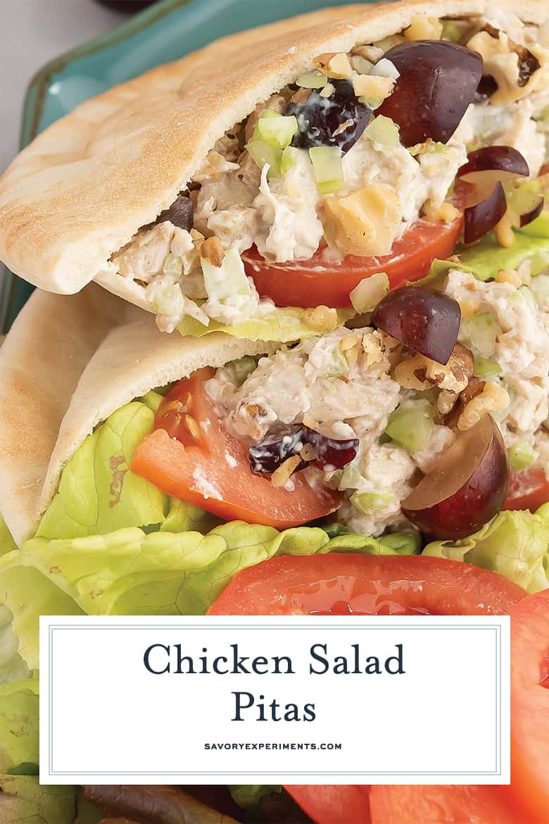 close up of chicken salad sandwich for pinterest