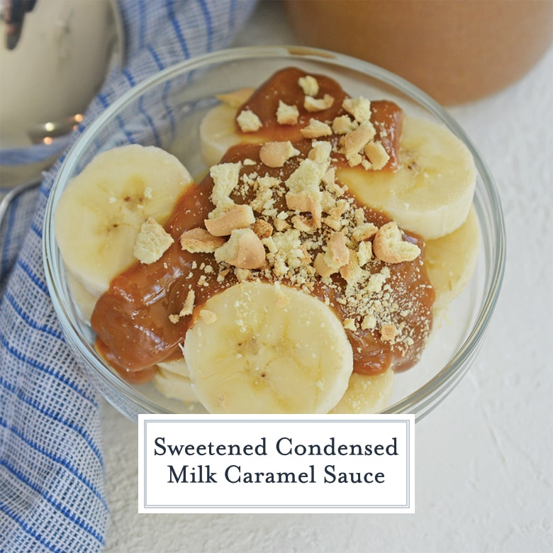 Dulce de leche sauce over bananas with cookie crumbles