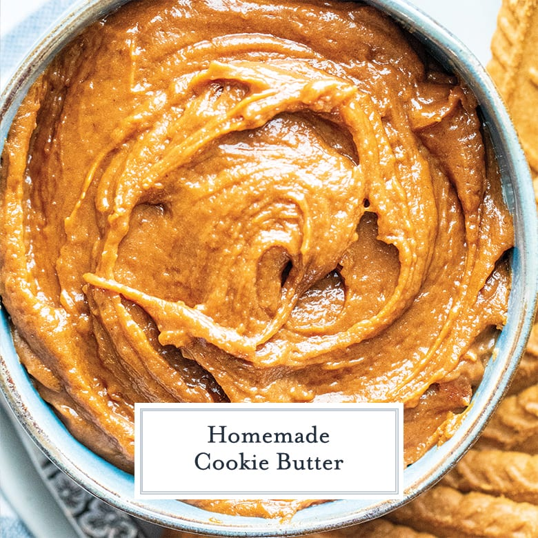 close up of cookie butter in a light blue bowl