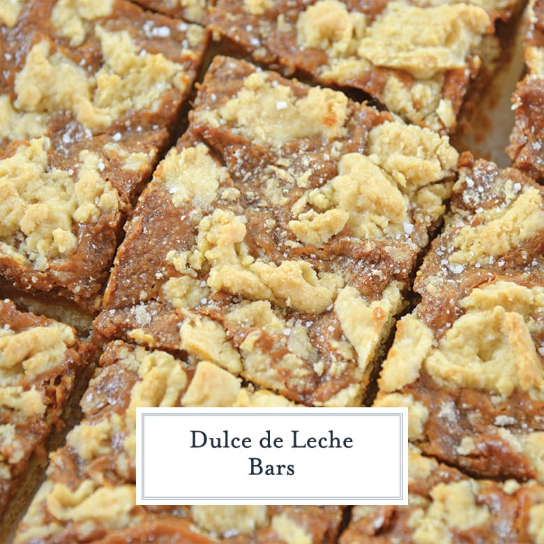 close up of dulce de leche bars with sea salt