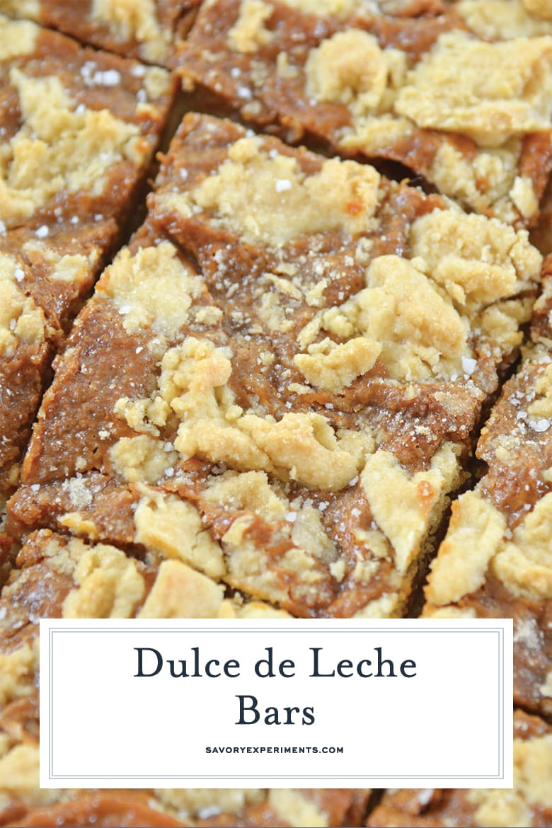 close up of dulce de leche bars for pinterest