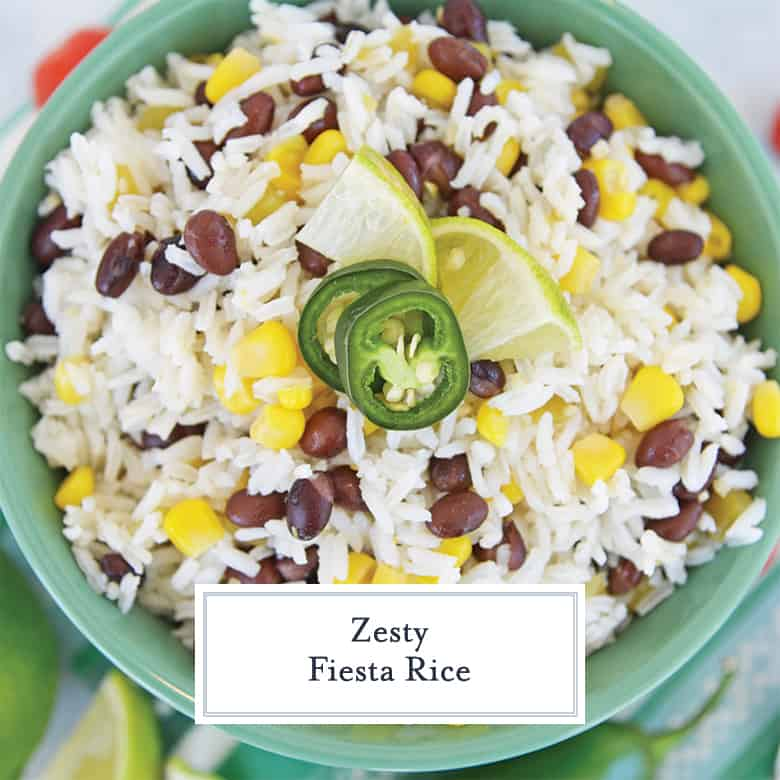white rice with black beans, corn and green chiles