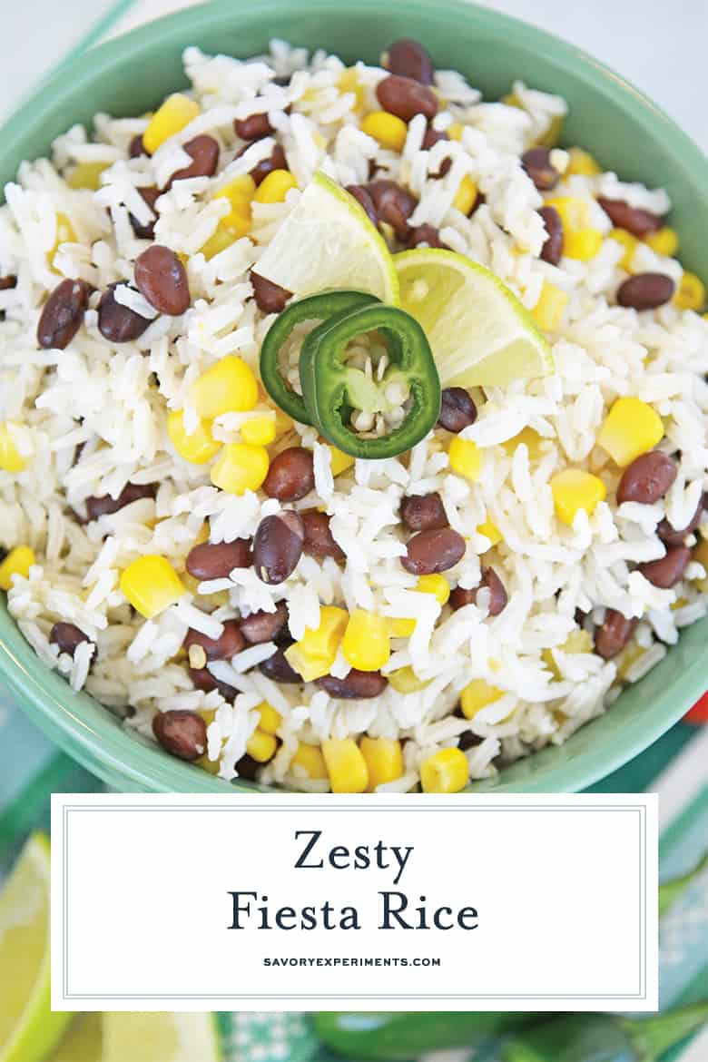 close up of fiesta rice for pinterest