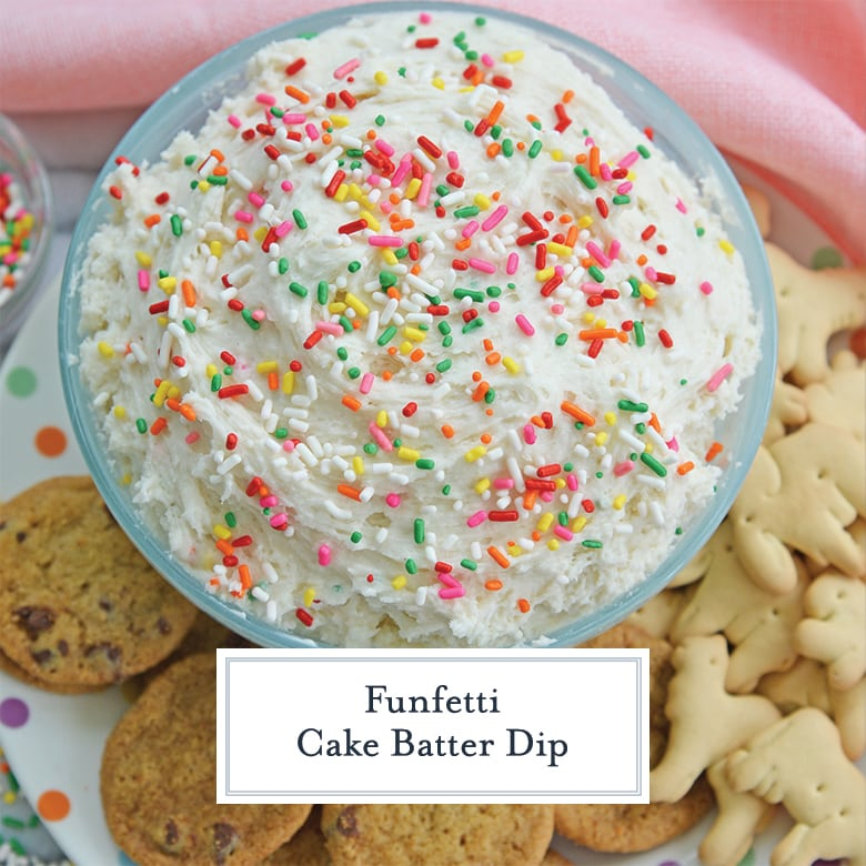 white cake batter dip topped with rainbow sprinkles