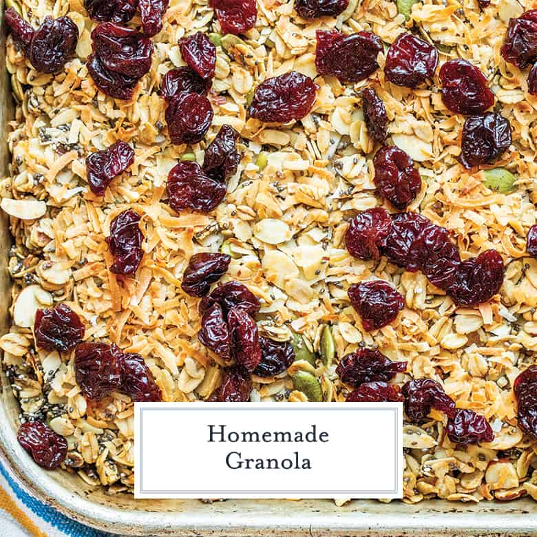 granola with dried cherries on a baking sheet