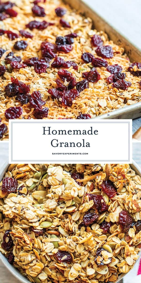 homemade granola with cherries for pinterest
