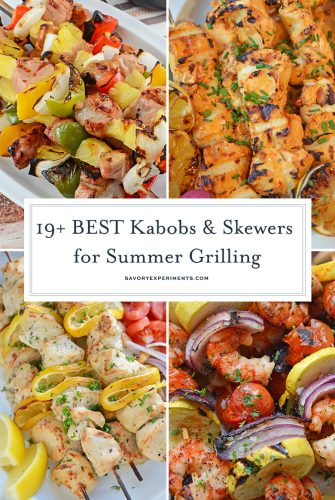 collage of skewers and kabob recipes