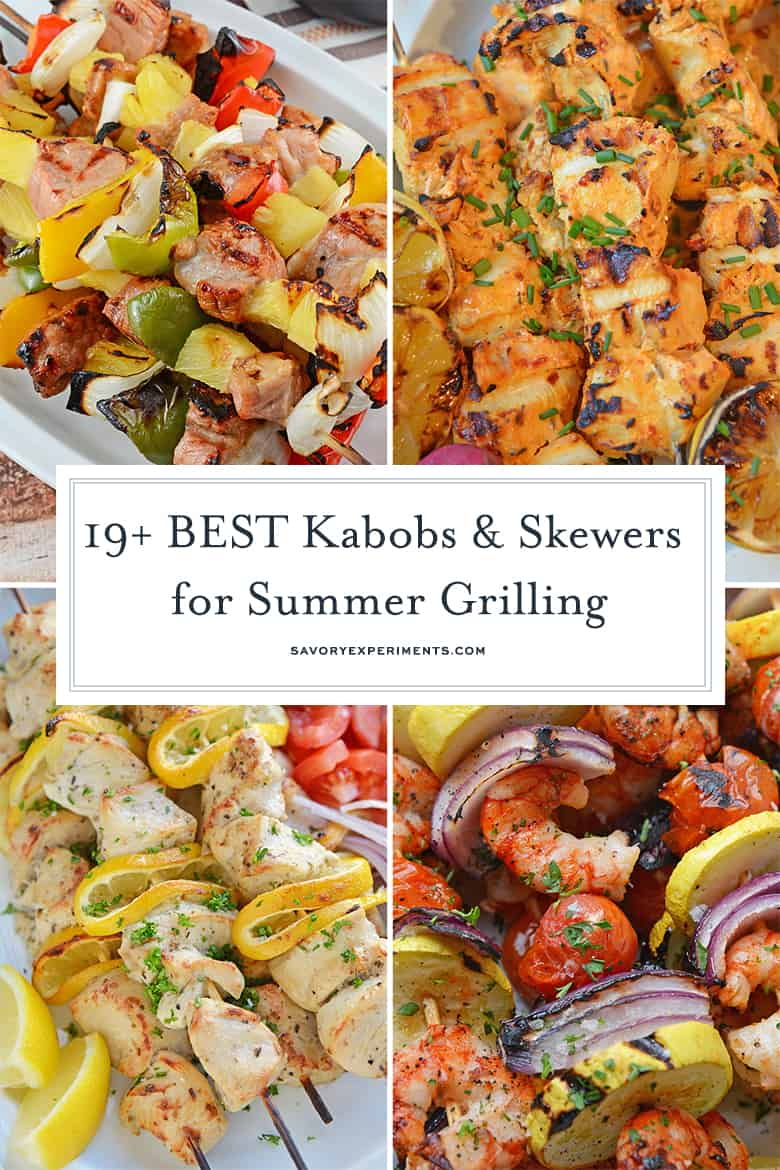 collage of kabob and skewer recipes
