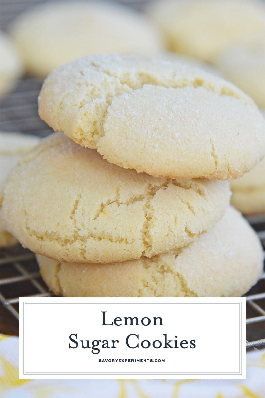 stack of three lemon sugar cookies close up