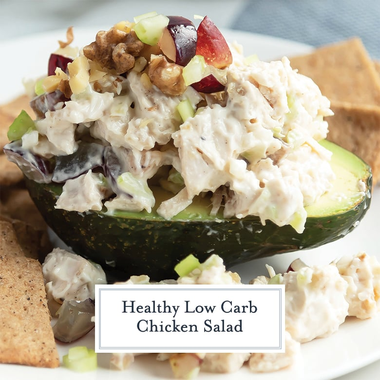 Close up of chicken salad with grapes in an avocado