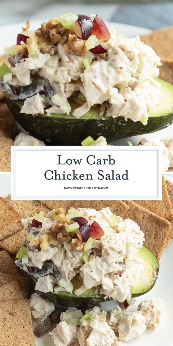Eating healthier has never been easier than with this EASY healthy Low Carb Chicken Salad recipe! Serve it on a lettuce wrap or even tomato halves! #lowcarbchickensalad #healthychickensalad #chickensaladrecipe www.savoryexperiments.com